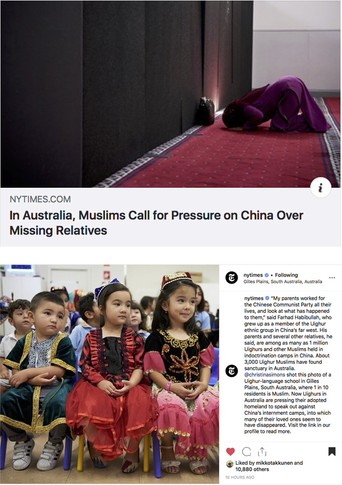 The New York Times - Social Media - In Australia, Muslims Call for Pressure on China Over Missing Relatives - Adelaide, Australia 13 April 2019