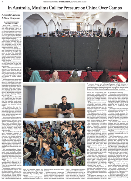 The New York Times - International Newspaper - In Australia, Muslims Call for Pressure on China Over Missing Relatives - Adelaide, Australia 13 April 2019