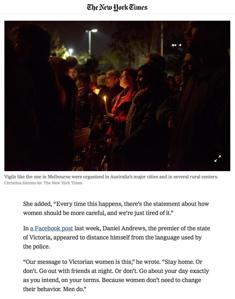 The New York Times - Eurydice Dixon Vigil Princes Park 18th June 2018 - P2