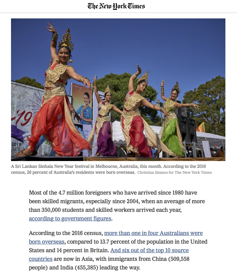The New York Times - Why has Australia Fallen Out of Love With Immigration? - Melbourne, Australia. 22 April 2019 - page 2