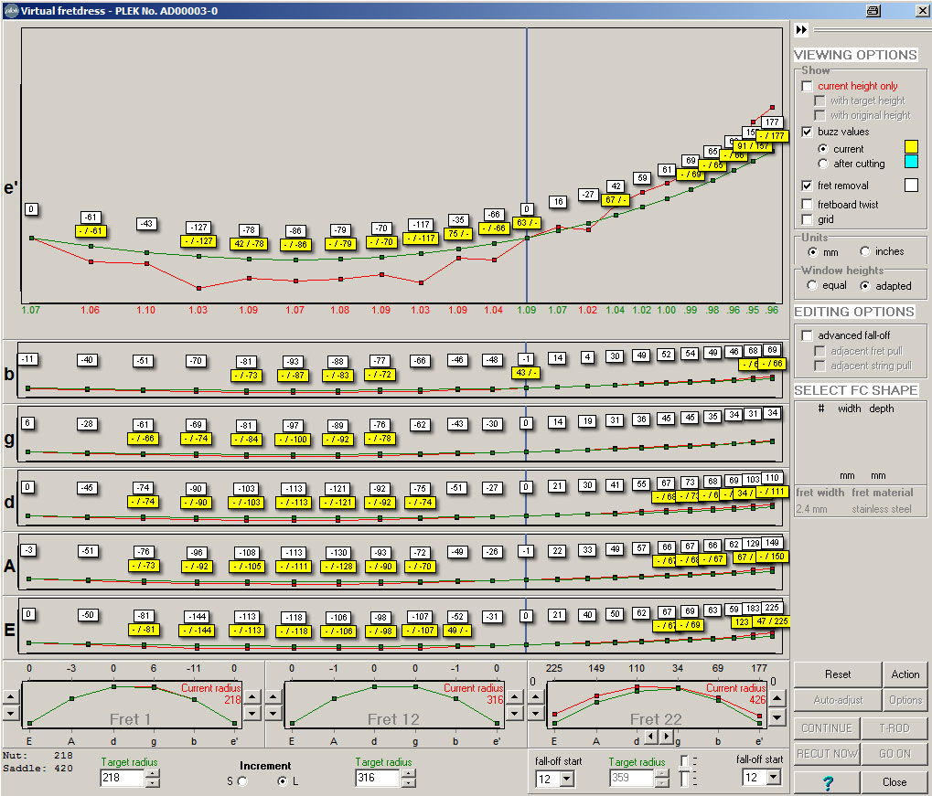 """The Virtual Fret Dress    Once the instrument has been scanned, we have enough data to be able to simulate the results of further work on the fingerboard or frets.    This is known as the    """"Virtual Fret Dress""""   .    This software tool makes it possible to set the amount of fret height to be cut as well as adjusting the radius (making it possible to obtain a compound radius within the frets) and the amount of """"fall-off"""" on the upper frets."""