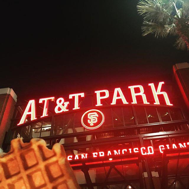 It's Opening Day! Let's Go Giants! 👏⚾️🧡🖤 @sfgiants #sfgiants #sanfrancisco #liegewaffle #hometeam #baseball #whereyouwaffle #attpark