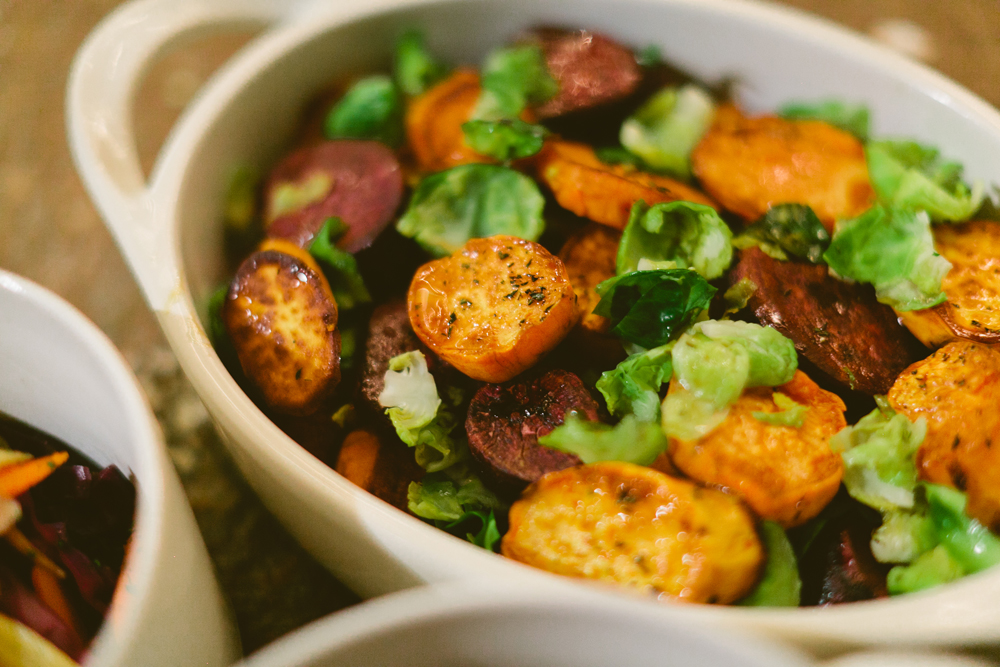 Glazed Sweet Potatoes with Brussels Sprouts and Apples by Homespun ATL from Country Living Fair Atlanta Cooking Demo   Photo by Kathryn McCrary   Holiday Side Dish