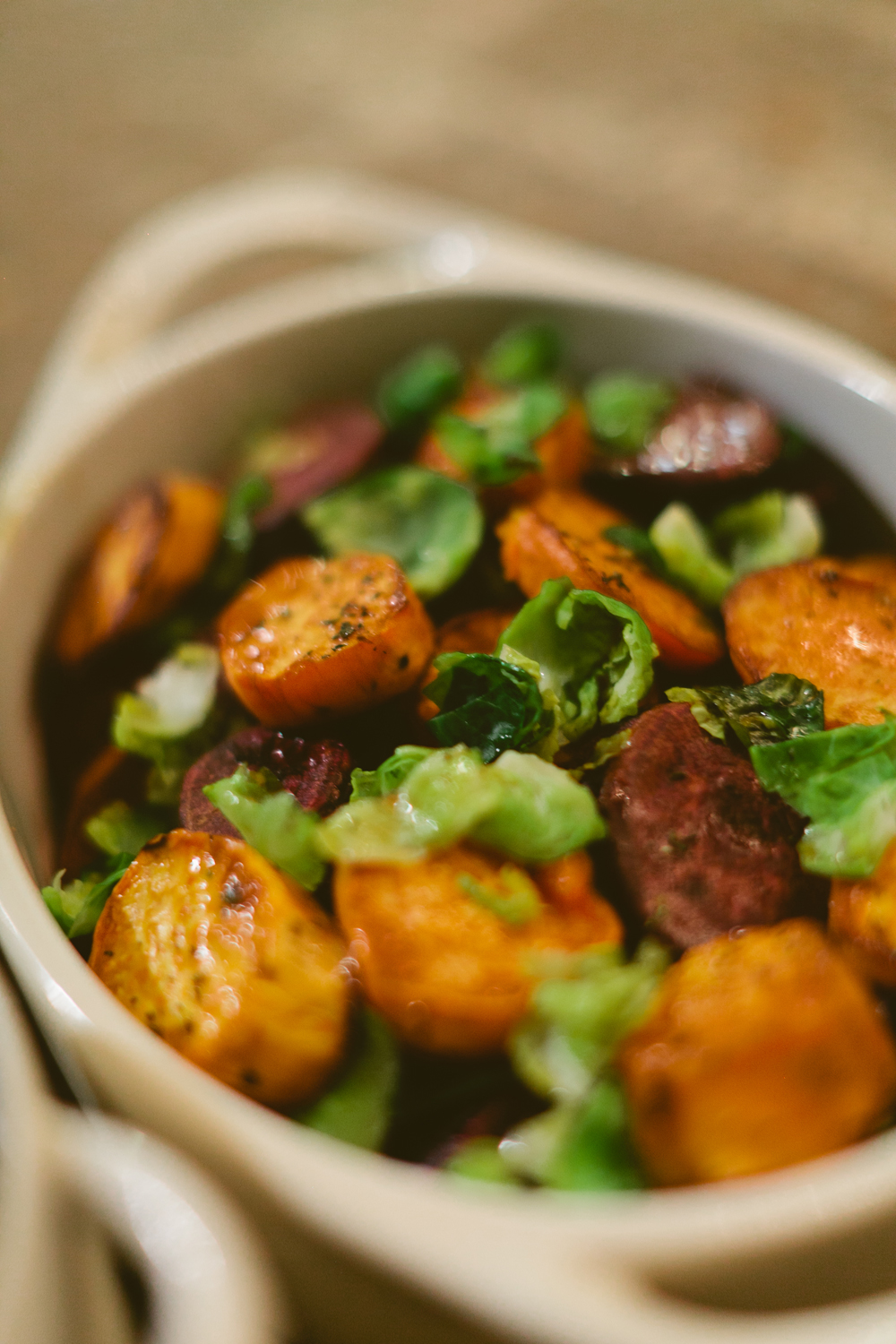 Glazed Sweet Potatoes with Brussels Sprouts and Apples by Jason Jimenez of Homespun ATL from Country Living Fair Atlanta Cooking Demo | Photo by Kathryn McCrary | Holiday Side Dish