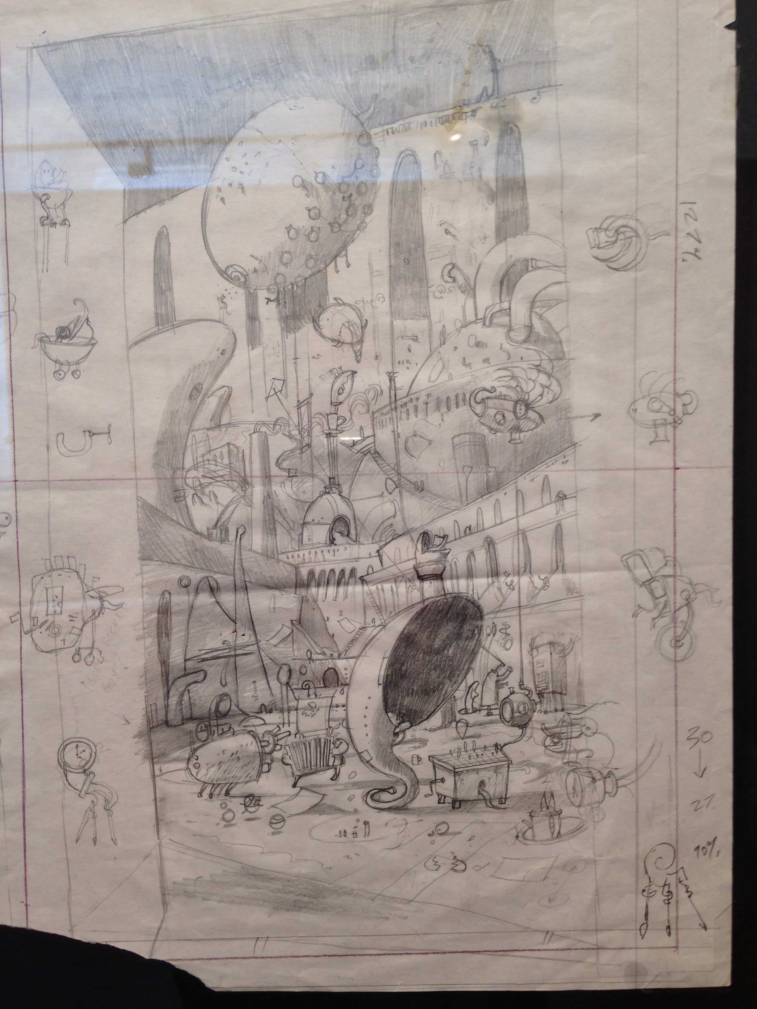 A sketch from the GCS Gallery Exhibition,'Shaun Tan: The Art of Story - Discovering  The Lost Thing Book to film'.