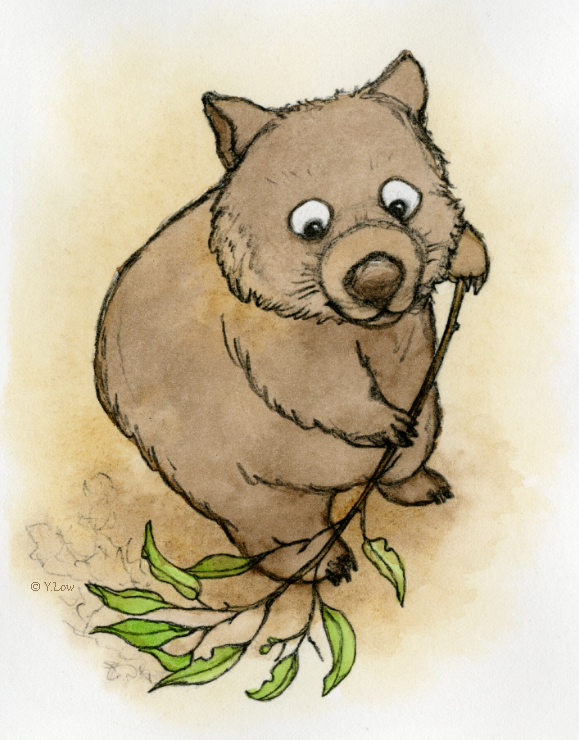 Clever Wombat busy sweeping his home clean.
