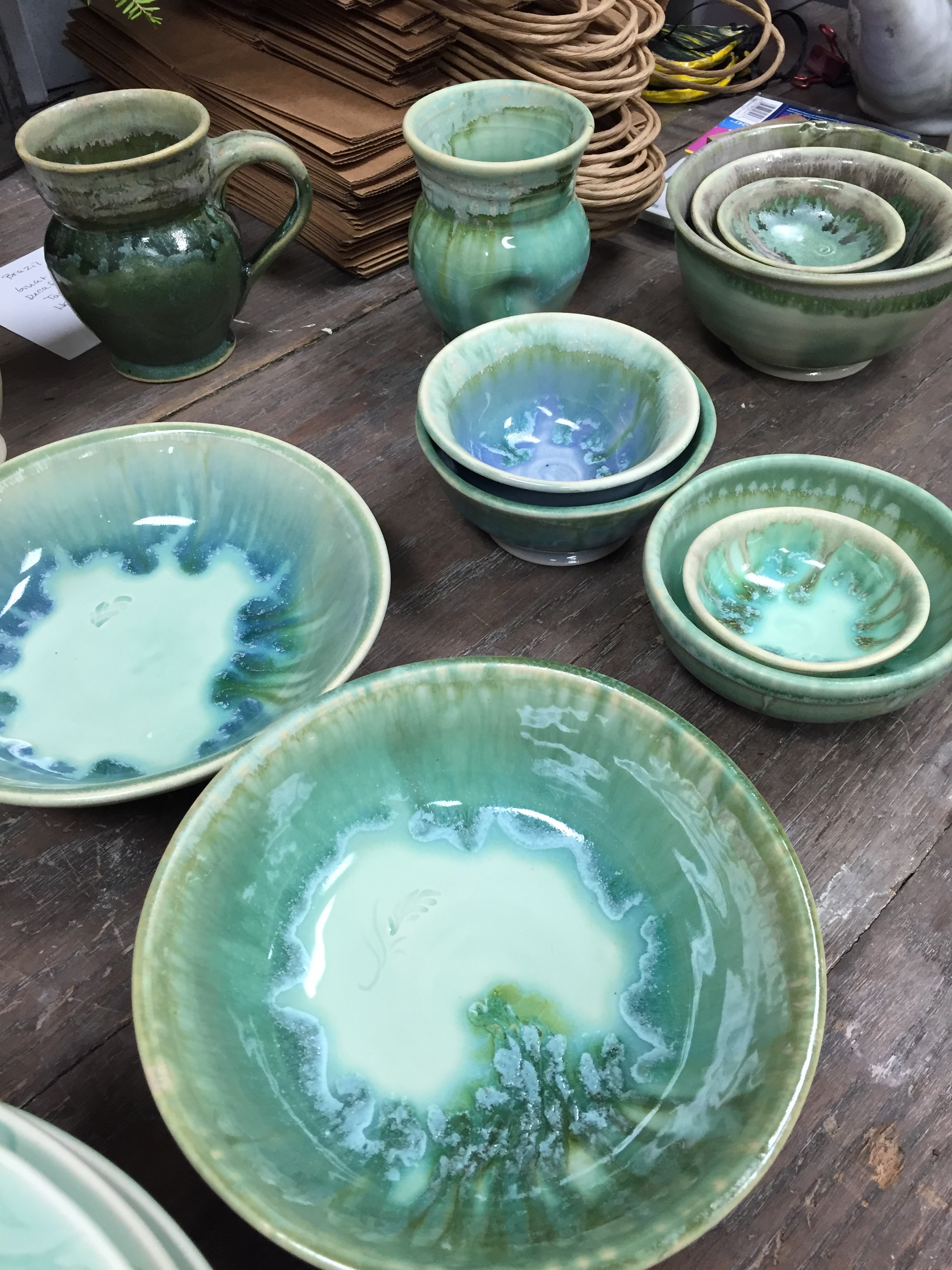 Microwave and dishwasher safe, hand-thrown dinnerware available at Stray Cat Studio.