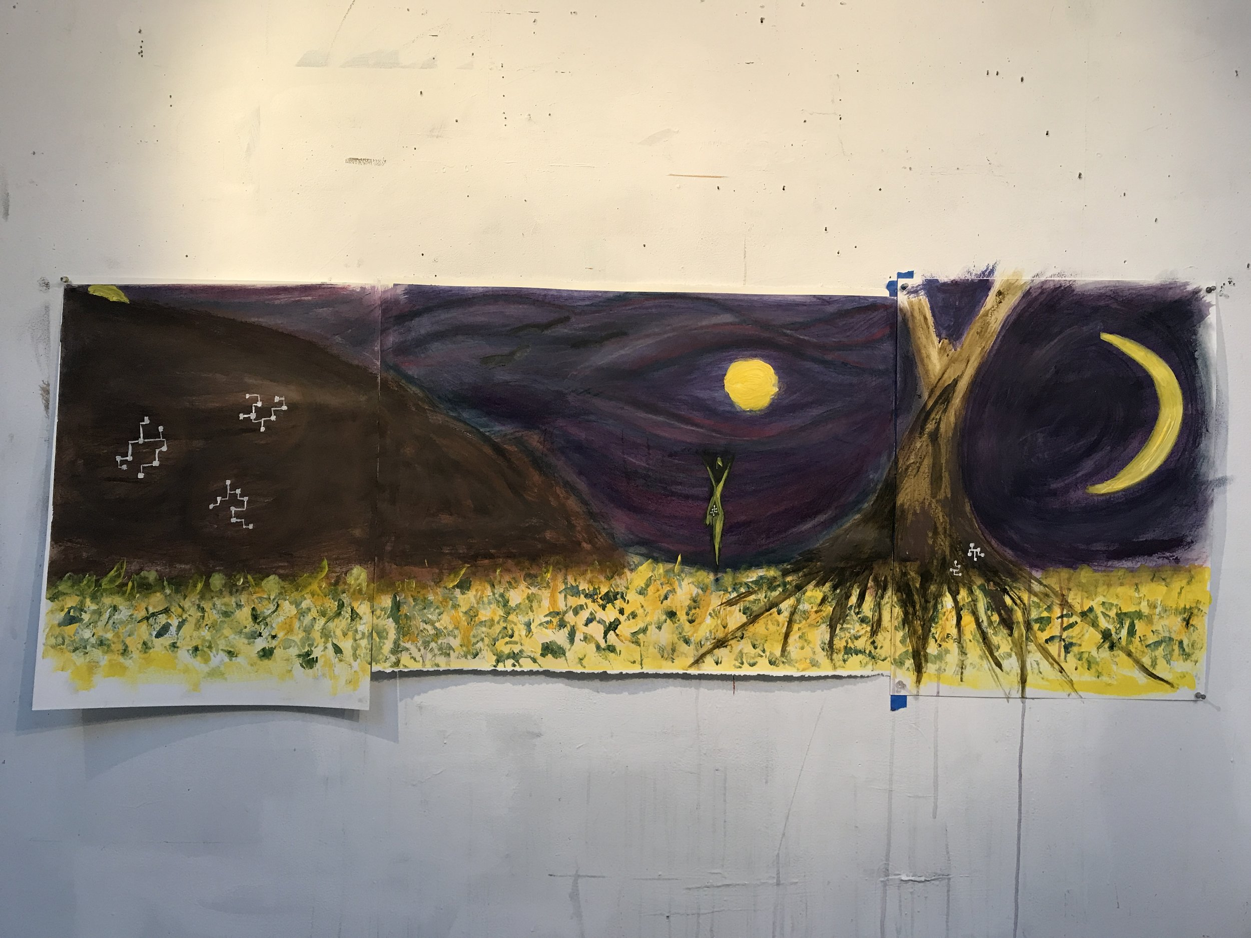 "Three Moons by the Mountain , 2018, acrylic & pastel, 24""x66"""