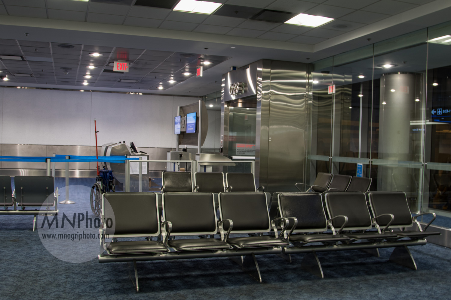 An empty gate, which was later filled with TSA agents for a meeting about the matrix.