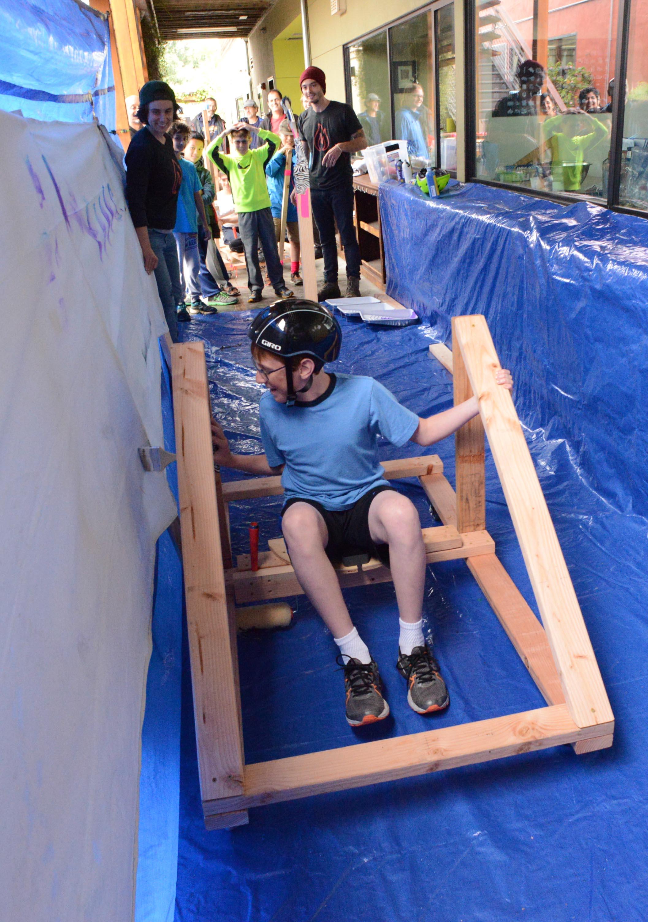 Matthew's team designed a foot-power cart (Flintstones anyone?).
