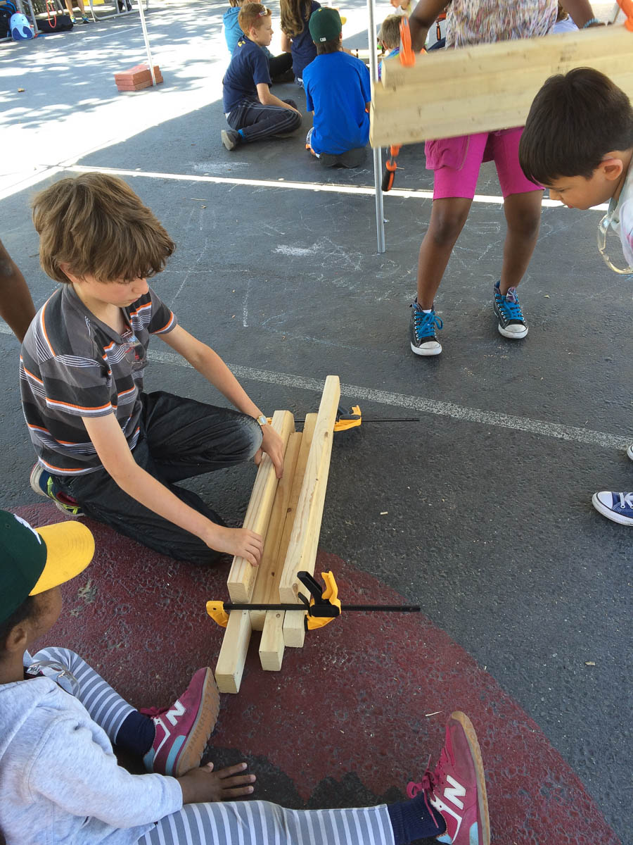 Cam and Zara have created a strong join using only clamps.