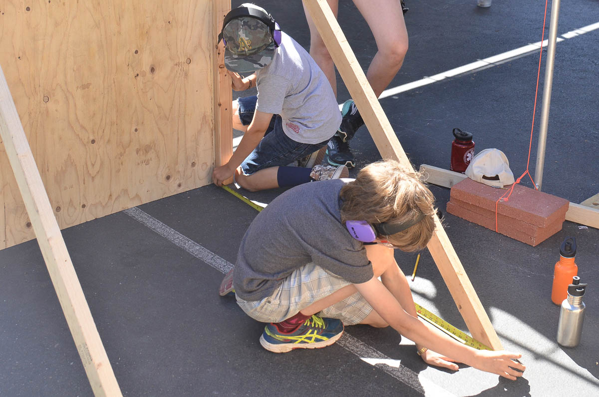 Rudy and Cam creating strong and sturdy structural supports for the backdrop of Mount Vesuvius.