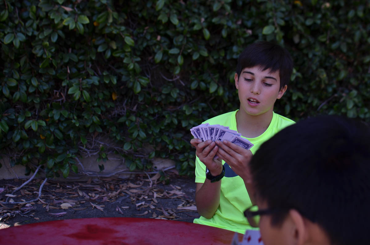 A well deserved break - Devran and Cory enjoy a game of cards at lunchtime.