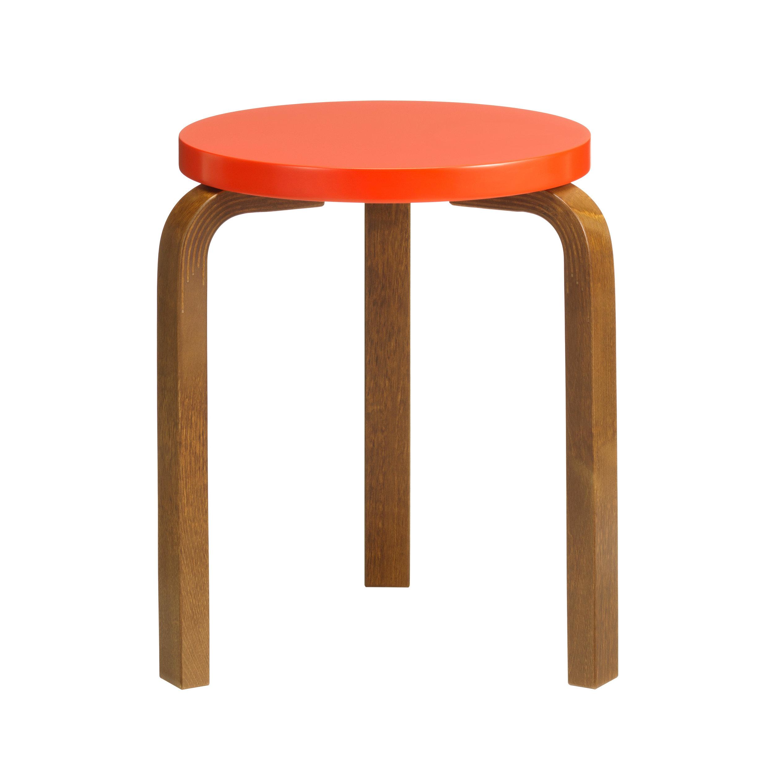 Stool 60 Legs: birch, walnut stain Seat: birch, bright red lacquer