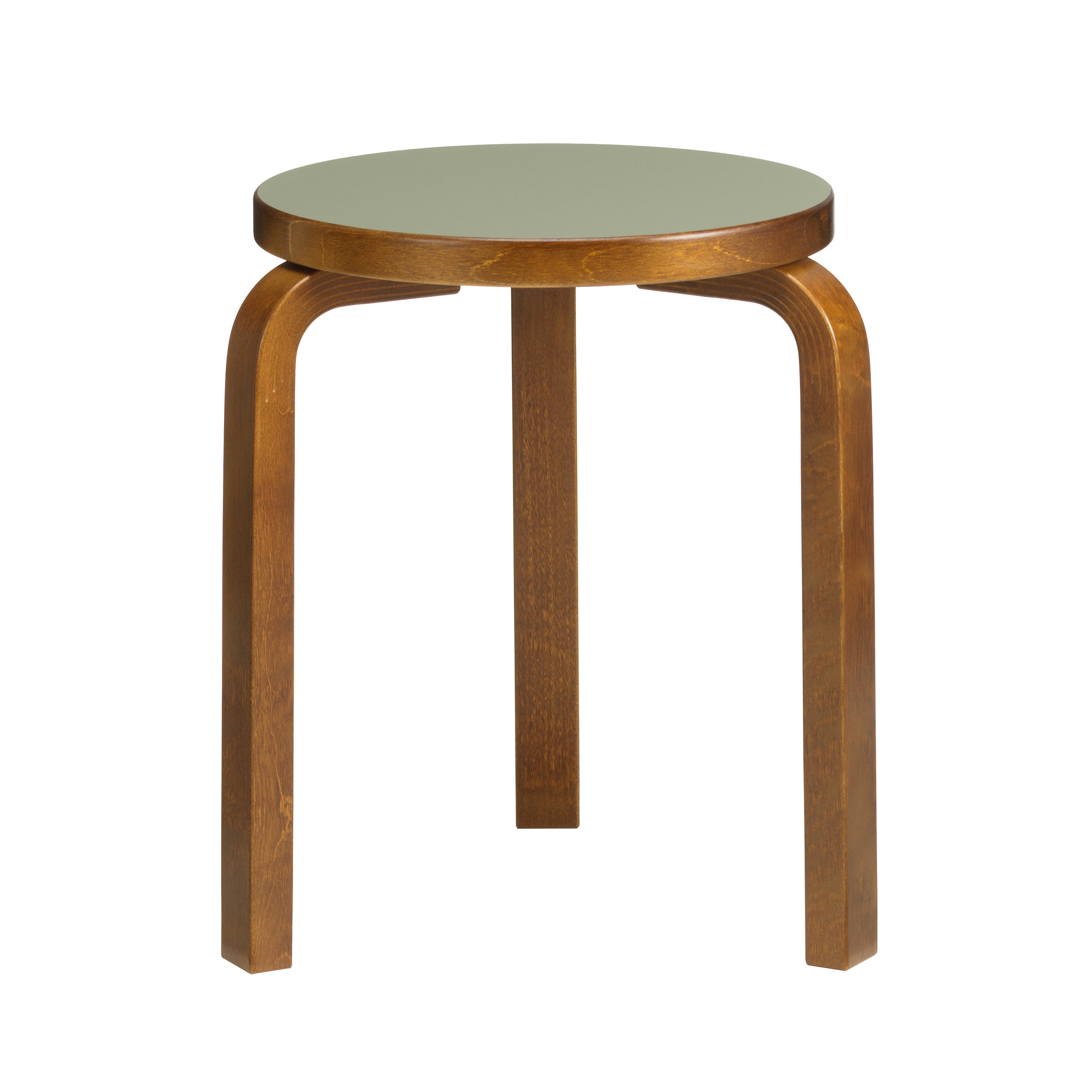 Stool 60 Legs: birch, walnut stain Seat: linoleum, olive