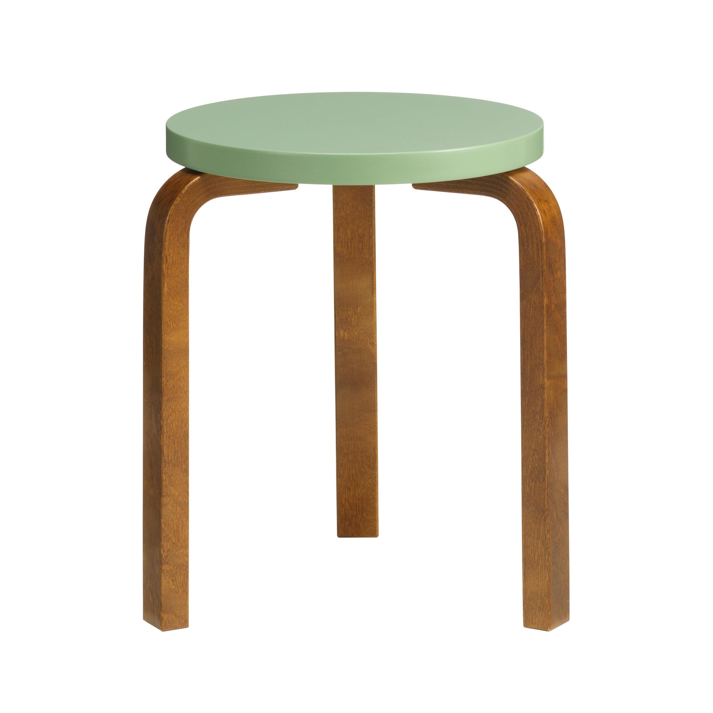 Stool 60 Legs: birch, walnut stain Seat: birch, pale green lacquer