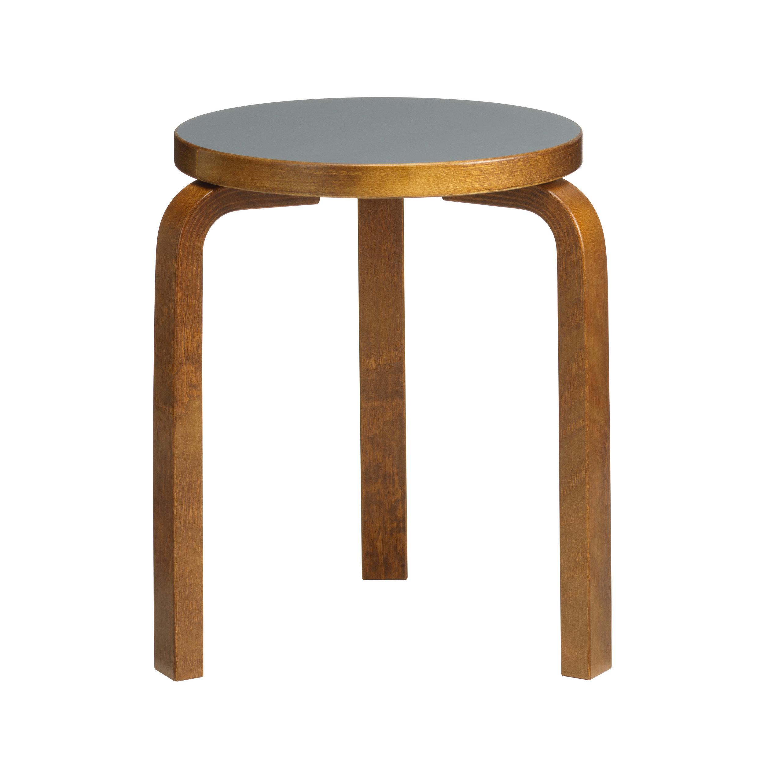 Stool 60 Legs: birch, walnut stain Seat: linoleum, pewter