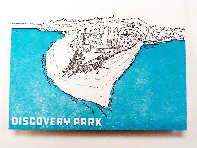 Last card in the series- Discovery Park! #discoverypark I made a series of drawings for @anniesartandframe of some of #seattle 's beautiful #beaches . They are pressed on a World War II Era press by @anniesartandpress . For sale now in #ballard at Annies's Art and Frame #anniesartandframe #anniesartandpress #seattlebeaches #beautifulbeaches #pacificnorthwestbeaches #seattlebeach #discoveryparkseattle #discoveryparkbeach #letterpress #letterpressprinting #letterpresslove #letterpresslovers #oldletterpress #annieoklaas