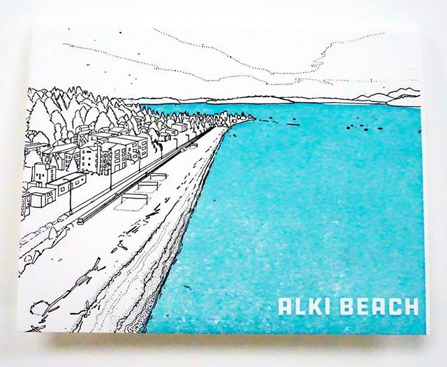 Alki beach park! #alkibeach One of the drawings I did for @anniesartandframe of some of #seattle 's beautiful #beaches . They are pressed on a World War II Era press by @anniesartandpress . For sale now in #ballard at Annies's Art and Frame #anniesartandframe #anniesartandpress #seattlebeaches #beautifulbeaches #pacificnorthwestbeaches #seattlebeach #alki #alkibeachseattle #letterpress #letterpressprinting #letterpresslove #letterpresslovers #oldletterpress #annieoklaas