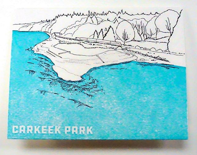 For everyone up late on a Friday night ( or really early on the other side of the world) Here is the card based on #carkeekparkbeach , a small but fascinating beach near the #train tracks . How much of the beach is showing depends on the tide, and there is a super cool little bridge from the road out to the sand. This is one of the drawings I did for @anniesartandframe of some #seattle 's beautiful #beaches . They are pressed on a World War II Era press by @anniesartandpress . I'll be posting one a day this week! For sale now in #ballard at Annies's Art and Frame #anniesartandframe #anniesartandpress #seattlebeaches #beautifulbeaches #pacificnorthwestbeaches #seattlebeach #carkeekpark #carkeekparkseattle #letterpress #letterpressprinting #letterpresslove #letterpresslovers #oldletterpress #annieoklaas