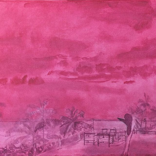 "Here's a close up of the underpainting for my friends at ""La Paillote"", featuring their #aperitif spot overlooking the beach and their striking #crestedcrane ! #aperitifs #bigsky #clouds #palmtrees #palmtrees🌴 #capskirring #capskirring🌴  #casamance #tropicaloilpainting #tropicaloilpaintings #annieoklaas #painter #paintersofinstagram #oilpainter #oilpainters #emergingartist #emergingartists #underpainting #pink #vacationpainting #vacation #vacances #vacances🌴 #vacancesdenoel #vacancesdenoel🎄 #senegal #lacasamance"