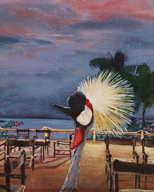 Close up of the #crestedcrane #bigbird #africanbird #sunset #dusk #capskirring #capskirring🌴  #casamance #tropicaloilpainting #tropicaloilpaintings #annieoklaas #painter #paintersofinstagram #oilpainter #oilpainters #emergingartist #emergingartists #bluesky #bluesky💙 #vacationpainting #vacation #vacances #vacances🌴 #vacancesdenoel #vacancesdenoel🎄 #senegal #lacasamance
