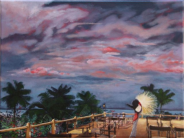 I made a second painting for my friends at La Paillote , featuring their #aperitif spot overlooking the beach and their striking #crestedcrane ! Stay tuned for detail pics.. #aperitifs #bigsky #clouds #palmtrees #palmtrees🌴 #capskirring #capskirring🌴  #casamance #tropicaloilpainting #tropicaloilpaintings #annieoklaas #painter #paintersofinstagram #oilpainter #oilpainters #emergingartist #emergingartists #bluesky #bluesky💙 #vacationpainting #vacation #vacances #vacances🌴 #vacancesdenoel #vacancesdenoel🎄 #senegal #lacasamance