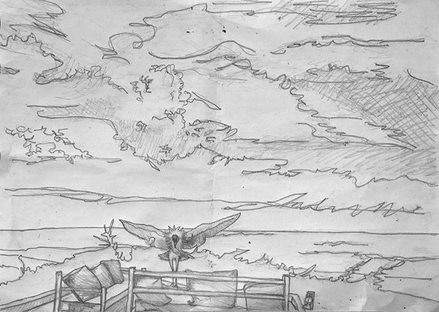 Here's the pencil sketch for the painting #bigsky #clouds #crestedcrane #palmtrees #palmtrees🌴 #lookoutpoint #lebelvedere #capskirring #capskirring🌴 #lapaillote #casamance #tropicaloilpainting #tropicaloilpaintings #annieoklaas #painter #paintersofinstagram #oilpainter #oilpainters #emergingartist #emergingartists #bluesky #bluesky💙 #vacationpainting #vacation #vacances #vacances🌴 #vacancesdenoel #vacancesdenoel🎄 #senegal #lacasamance