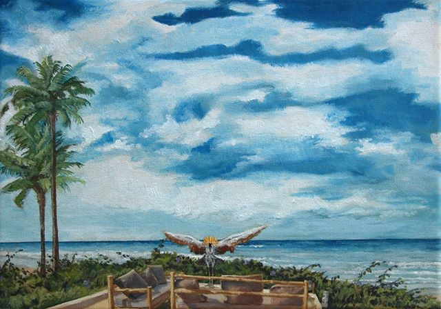 Finished painting! #bigsky #clouds #crestedcrane #palmtrees #palmtrees🌴 #lookoutpoint #lebelvedere #capskirring #capskirring🌴 #lapaillote #casamance #tropicaloilpainting #tropicaloilpaintings #annieoklaas #painter #paintersofinstagram #oilpainter #oilpainters #emergingartist #emergingartists #bluesky #bluesky💙 #vacationpainting #vacation #vacances #vacances🌴 #vacancesdenoel #vacancesdenoel🎄 #senegal #lacasamance