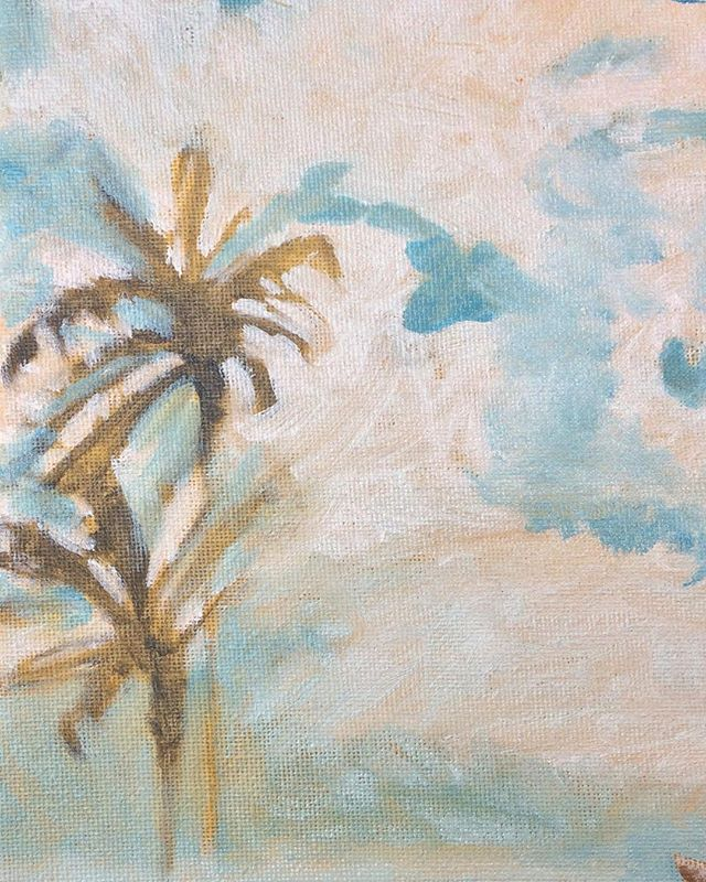 Here's a process detail from that Christmas painting #wip #palmtrees #palmtrees🌴 #clouds #sunpalm #oilpainting #oil #oilpaintingartist #painter