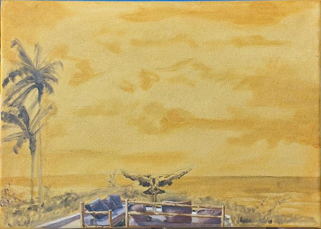 Working on a painting for a friend #yellow #crestedcrane #crestedcranes #tropicalscene #tropicalscenes #palmtrees #wip