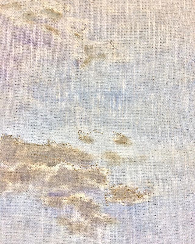Another detail from the embroidery process. For the design, I do a gesture drawing on the back of the canvas, holding it up to the light so I can trace the basic shapes of the paint. Then I chose parts of the drawing to embroider. #painting  #paintings #annieoklaas #paintingstudio #oilpainting #oilpaintings #oilpaintingsoncanvas #blue #clouds #wip #embroideryart #embroidery #embroideryartist #handembroideryartist #oilpaintingartist #oilpaintingart #cloudslime #cloud #gesturedrawing #gesturedrawings #trace #goldclouds #goldcloudsinthesky #goldcloud #grey #lavender