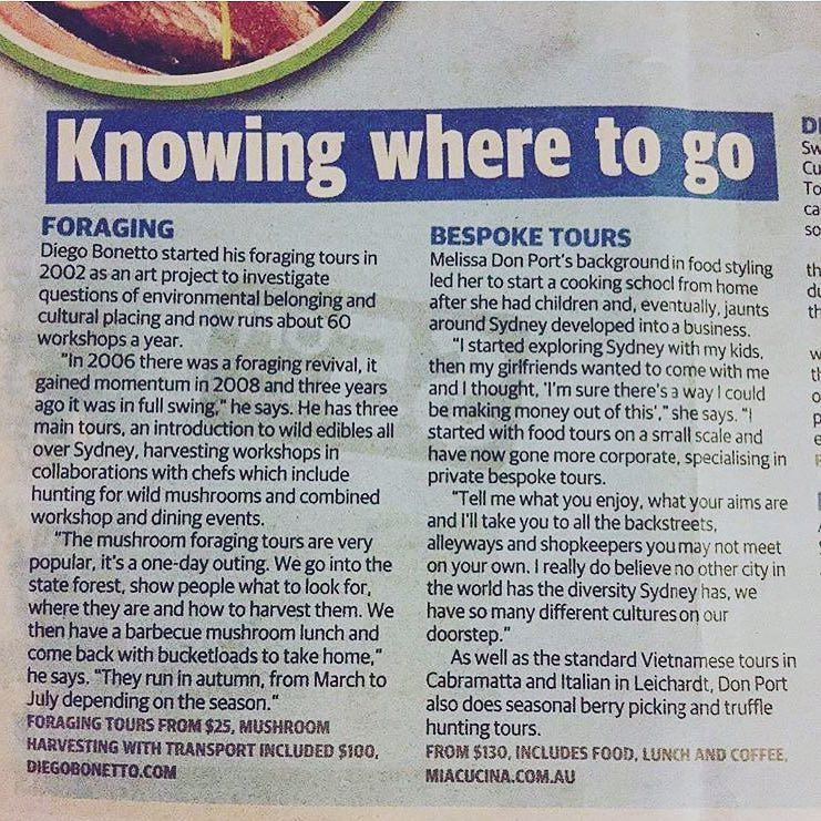 - Top guides who will take you on food tours to uncover Sydney's hidden culinary treasures, Daily Telegraph, 30 November 2016