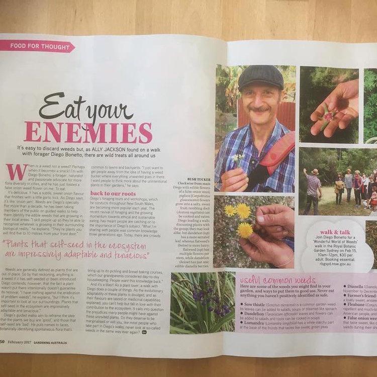 - Eat Your Enemies, Ally Jackson, Gardening Australia Magazine, Feb 2017