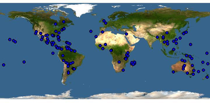Global spread of Bidens pilosa. Source:  www.griis.org