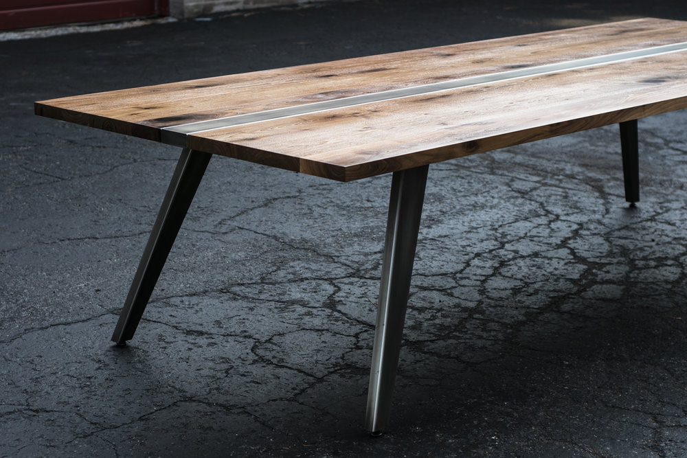 Mez Works Furniture Lake Tahoe And Sf Bay Area Zhao Walnut And Steel Dining Table Mid Century Modern Steel Base