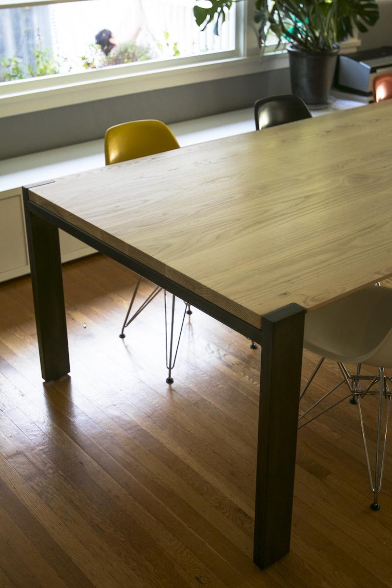 Mez Works Furniture Lake Tahoe And Sf Bay Area Hudson Ash Dining Table Beveled Edge Profile Steel Frame