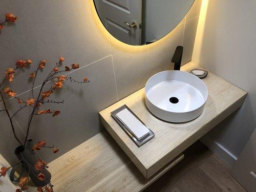 Lake Tahoe And Sf Bay Area Eloise Floating Bathroom Vanity And Staggered Shelf Mez Works Furniture