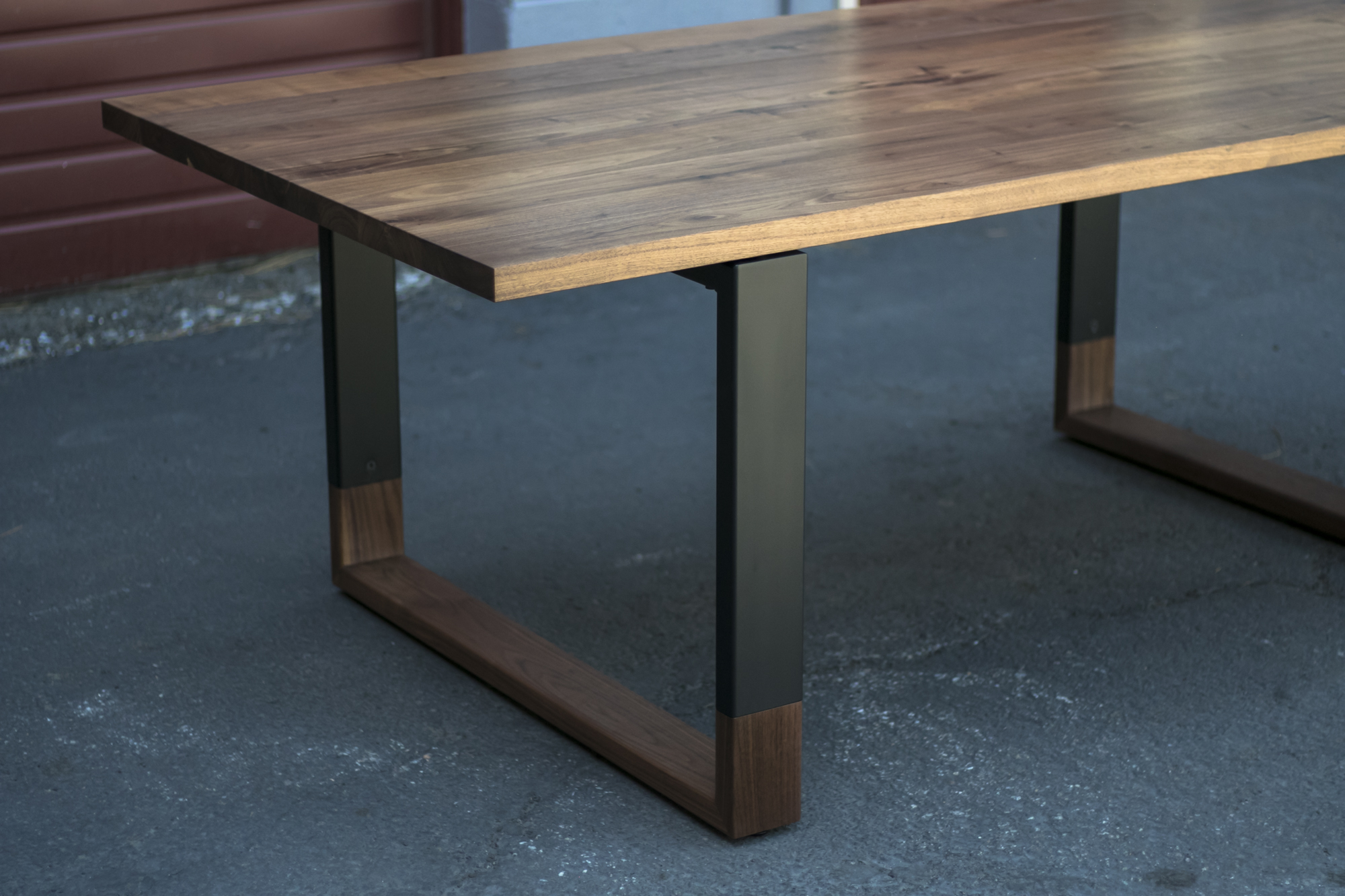 Mez Works Furniture Lake Tahoe And Sf Bay Area The Blend Walnut Steel Dining Table Wood Ced Legs