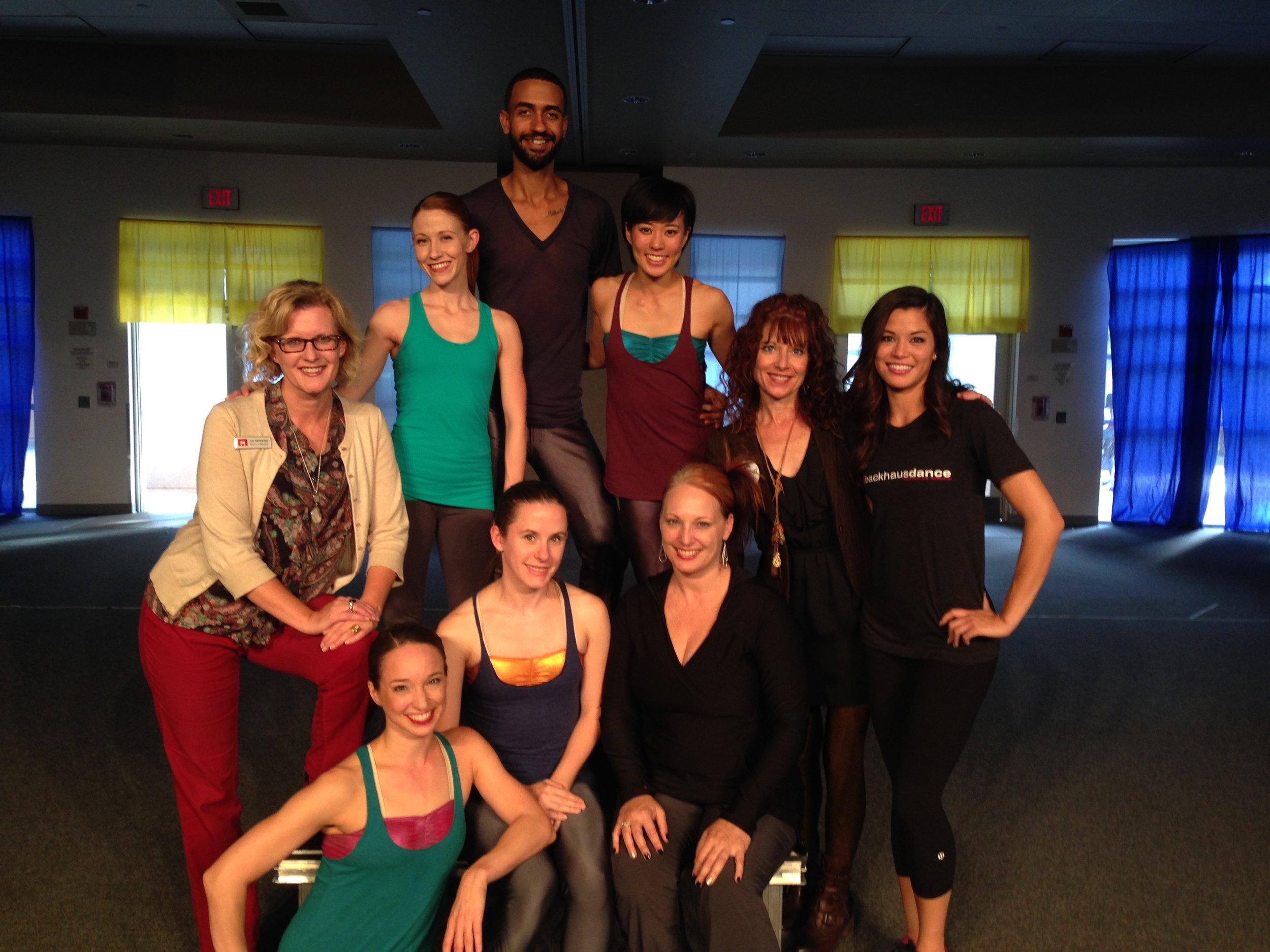 BD company dancers and Artistic Director Jennifer Backhaus join McCallum Theatre Institute Director Kajsa Thuresson-Frary and teaching artist Holly O'Farrell after a school performance.