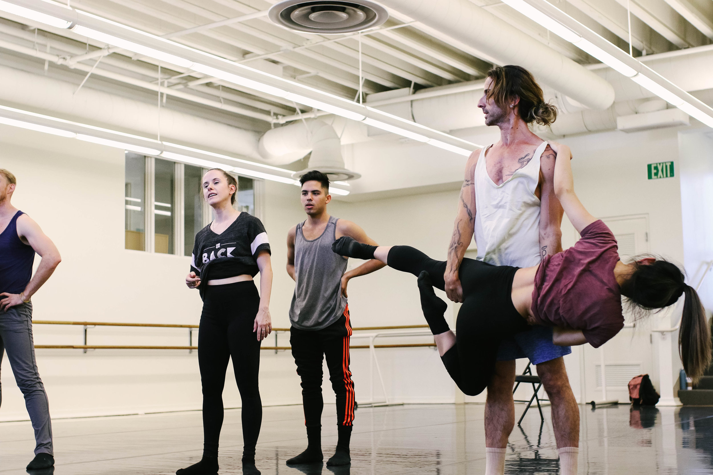 Israeli choreographer Ido Tadmor rehearsing  The Empty Room . The US premiere is scheduled for February 2017. Photo by Sarah Delgado.