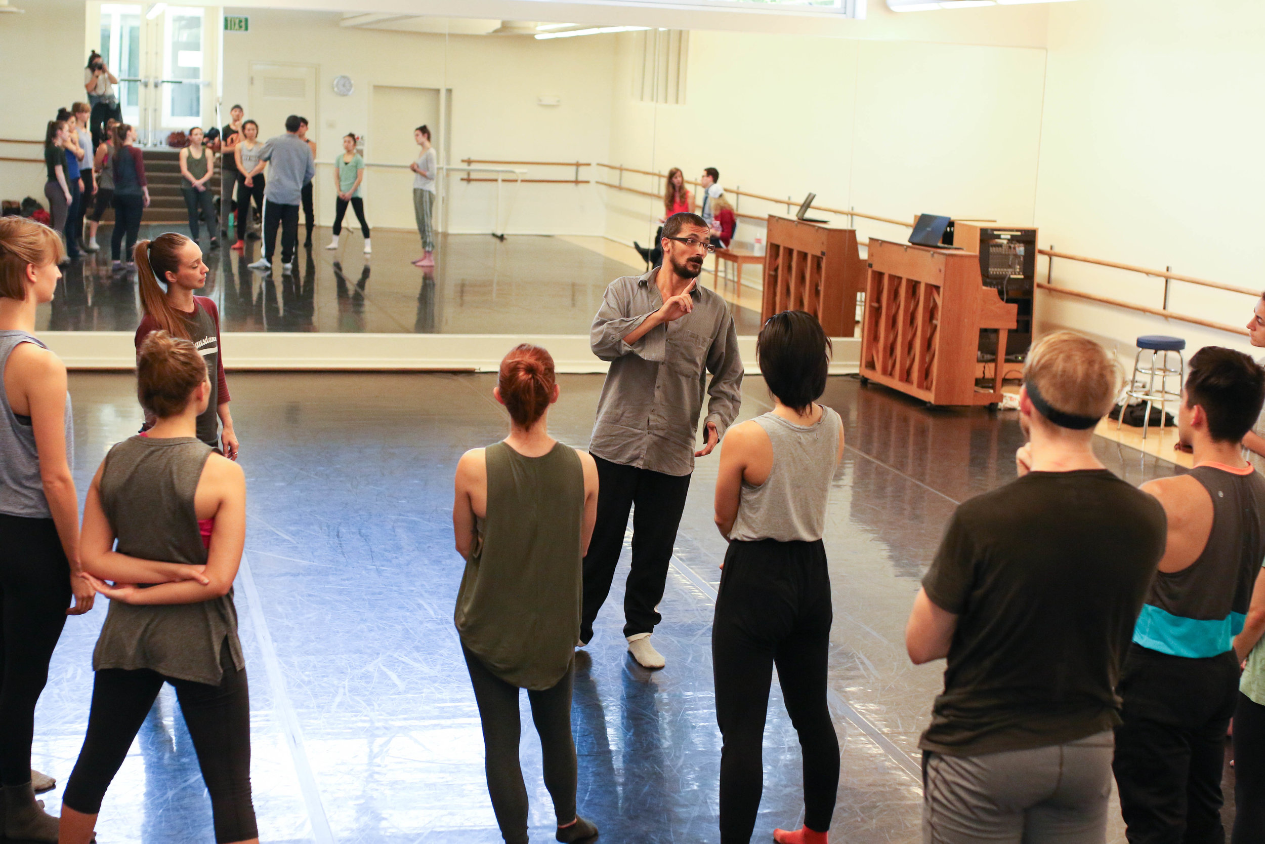Italy's Walter Matteini rehearsing  Beyond the Noise , premiering in February 2017 at the Musco Center for the Arts. Photo by Sarah Delgado.