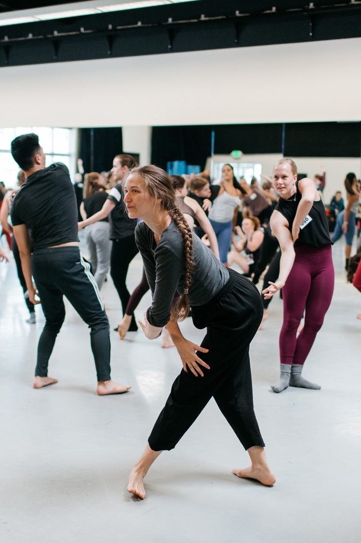 2018 Adv/Pro dancers jamming in an Improvisation class. Photo © Emily Duncan