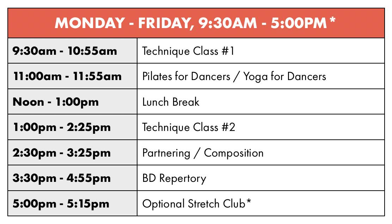 Backhausdance Summer Intensive Sample Teen Schedule