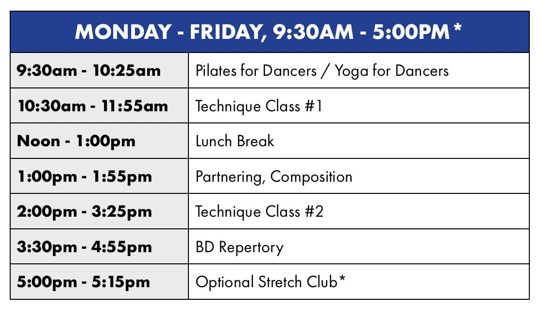 Backhausdance Summer Intensive Advanced Sample Schedule