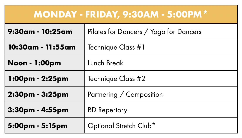 Backhausdance Summer Intensive Professional Sample Schedule