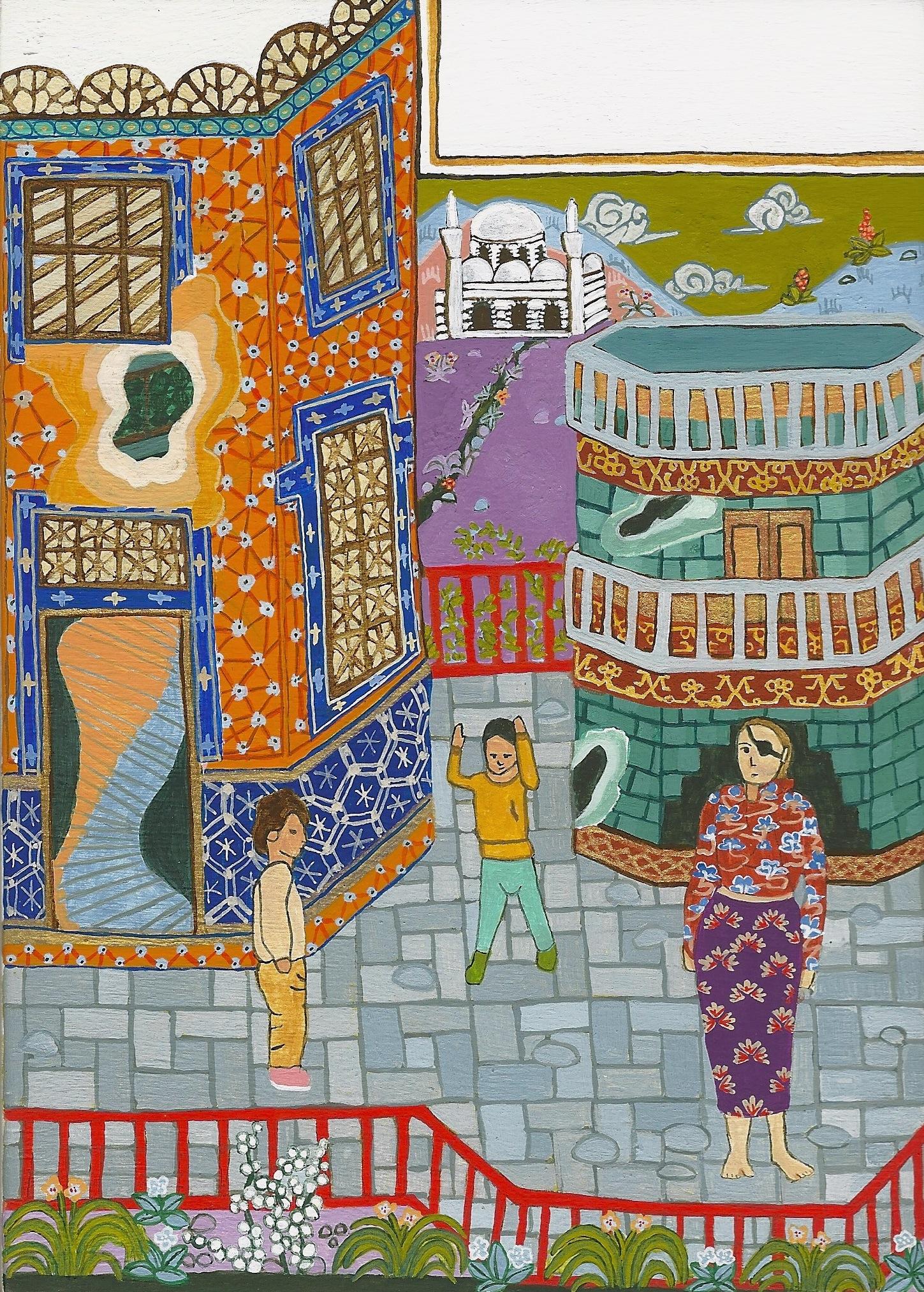 Destruction of Homs , 2012, handmade egg tempera on panel, 7 x 5 in.