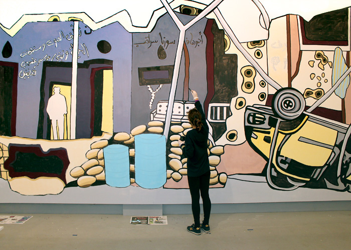 Artist installing the work on site at SPACE Gallery, Portland, Maine, 2015.