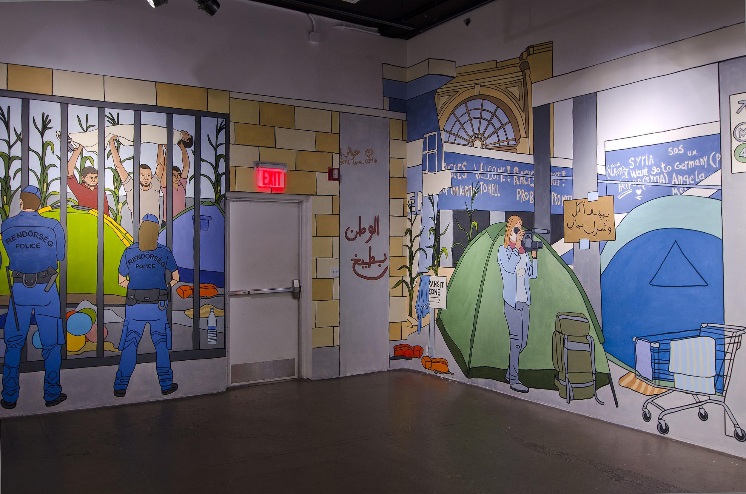 Main gallery wall 14 x 3.5 mt, side walls 5 x 3.5 mt, egg tempera, 2016.