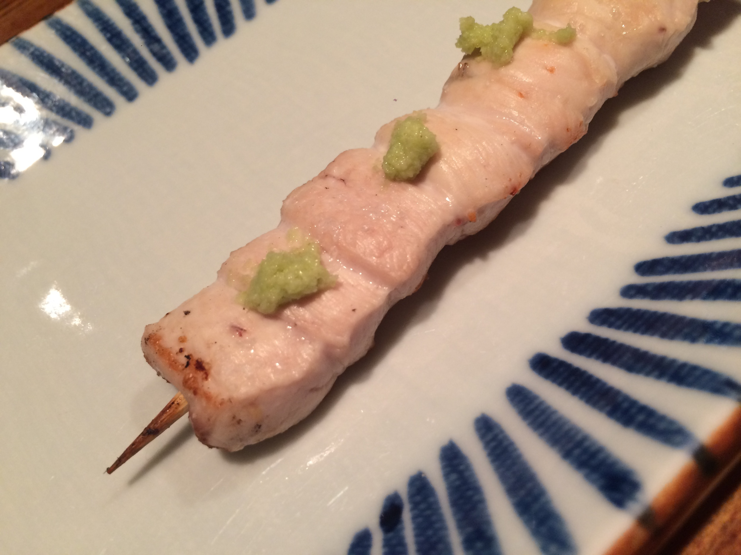Chicken Skewer with Fresh Wasabi. Birdland, Tokyo, Japan